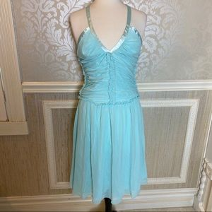 A.B.S. 10 baby blue cocktail dress ruched style